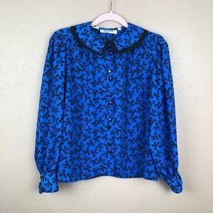 Vintage | bow print button down blouse